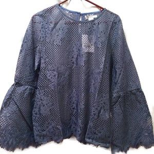 New Glamorous Crochet Lace Top Bell Sleeves 12
